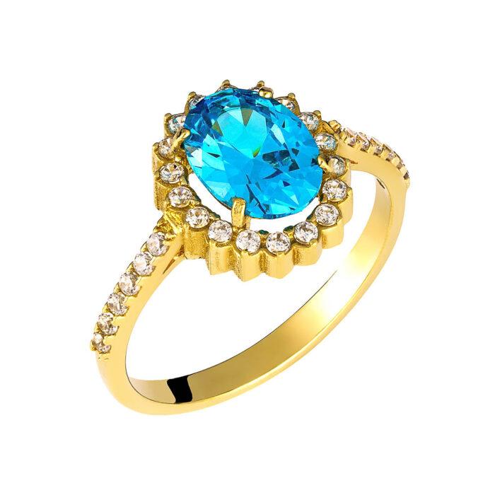 14k Δαχτυλίδι πετράτο με γαλάζια πέτρα