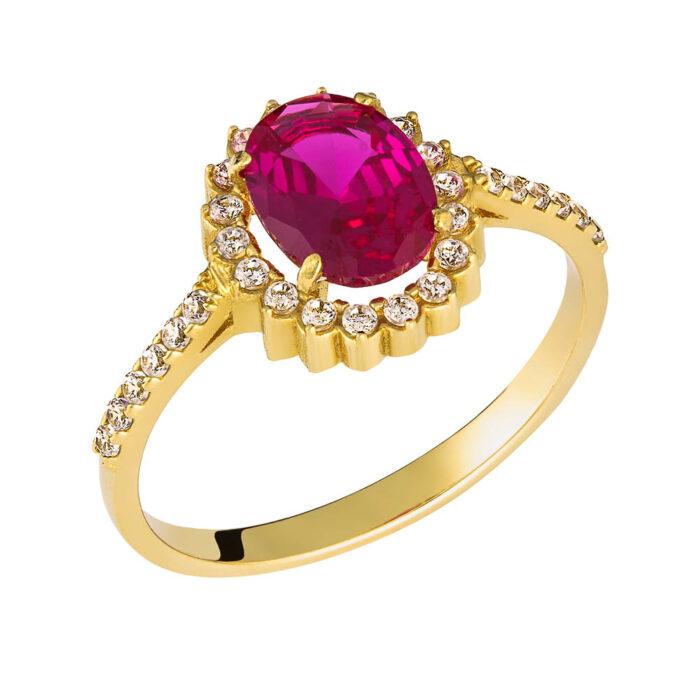 14k Δαχτυλίδι πετράτο με κόκκινη πέτρα