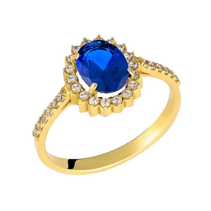 14k Δαχτυλίδι πετράτο με μπλέ  οβάλ πέτρα