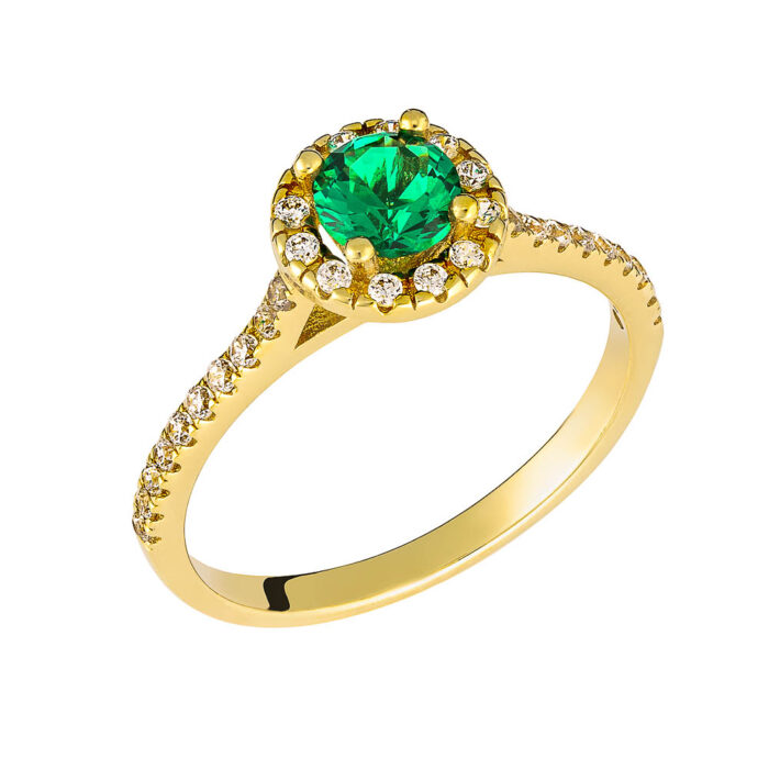 14k Δαχτυλίδι πολύπετρο με πράσινη πέτρα