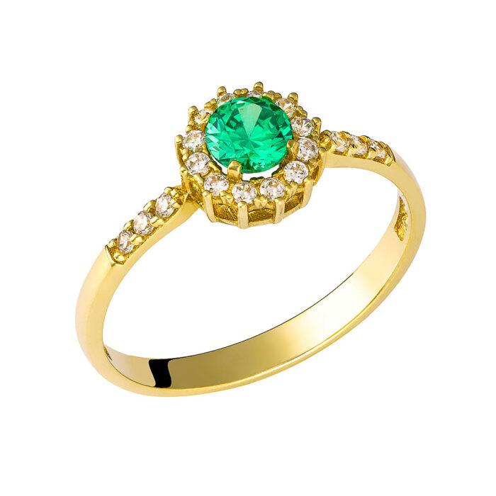 14k Δαχτυλίδι πετράτο  με πράσινη πέτρα