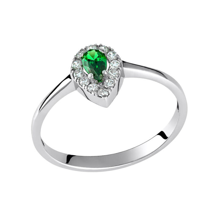 14k Δαχτυλίδι δάκρυ με πράσινη πέτρα
