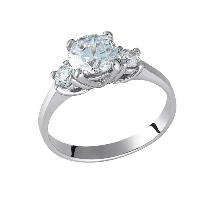 14k Δαχτυλίδι με λευκή τετράγωνη πέτρα