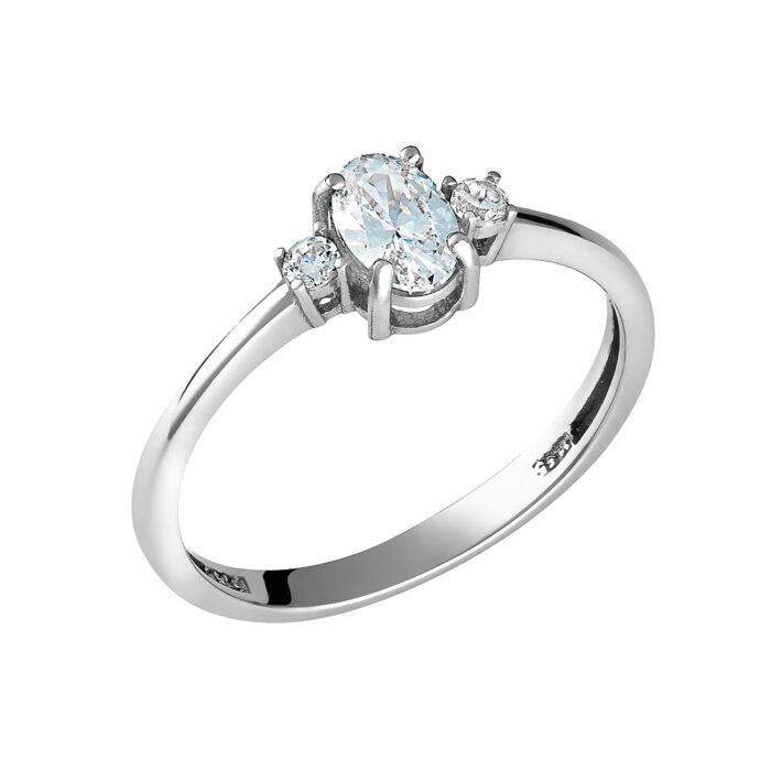 14k Δαχτυλίδι λευκή οβάλ πέτρα