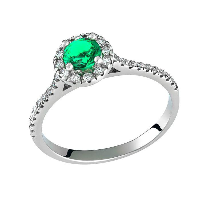 14k Δαχτυλίδι πετράτο μονόπετρο με πράσινη πέτρα