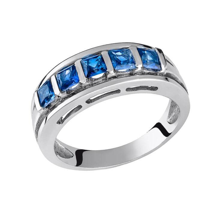 14k Δαχτυλίδι με μπλέ πέτρες