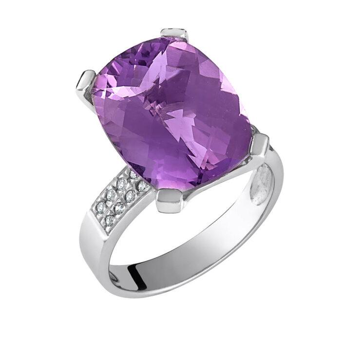 14k Δαχτυλίδι με ημιπολύτιμη πέτρα αμέθυστο