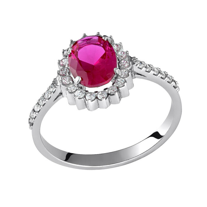 14k Δαχτυλίδι ροζέτα με κόκκινη πέτρα